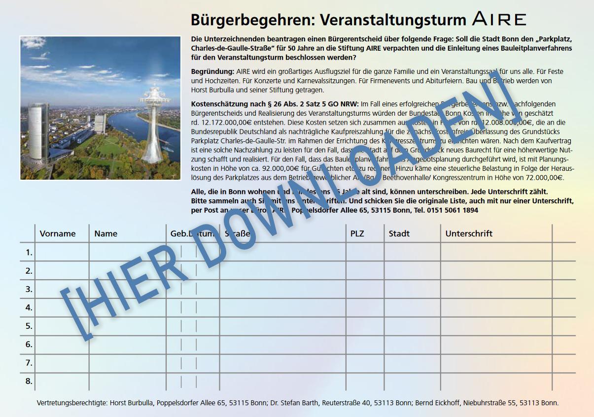 Unterschriftenbogen für AIRE
